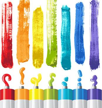 bright paints colors design vector