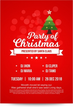 bright red christmas party invitation card with decorated christmas tree and soft lights in background