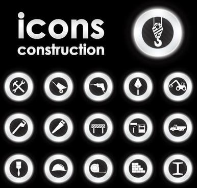 bright round icons design vector set