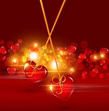 bright valentine day card background vector