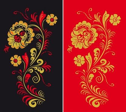 flower background templates retro flat oriental design
