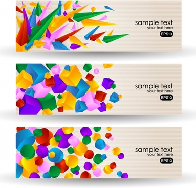 decorative banners templates colorful 3d geometrical shapes motion