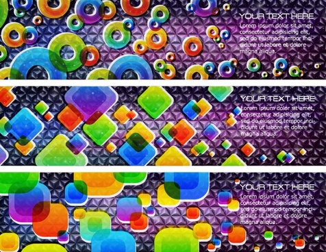 technology banner templates colorful flat geometric shapes decor
