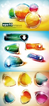 digital buttons templates modern sparkling colorful shapes