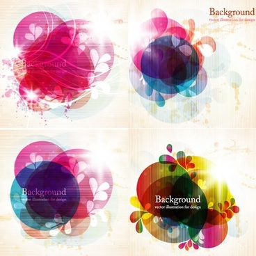 decor background templates colorful blurred floral circles sketch