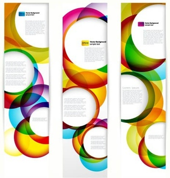 decorative banner templates bright colorful circles shapes