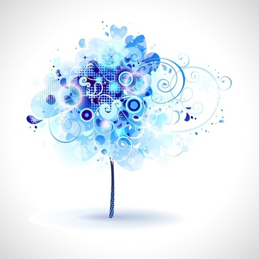 tree background blue sparkling doodle design