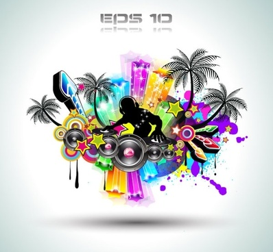 brilliant dynamic musical elements 03 vector