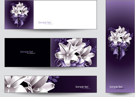 brilliant flowers with banner background