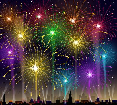brilliant holiday fireworks vectors set