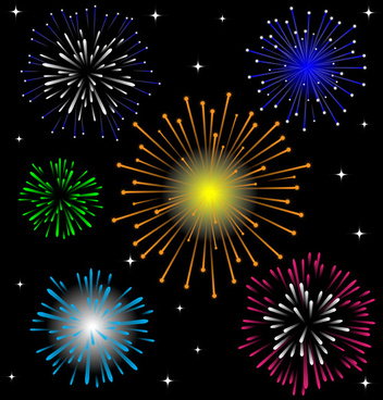 brilliant holiday fireworks vectors set