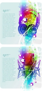 music banners templates colorful 3d microphone headphone sketch