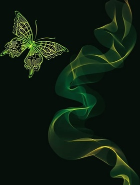 butterfly background 3d smoke decor modern dark green