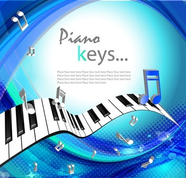 music background dynamic 3d notes piano sketch