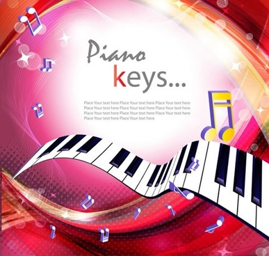 music banner template dynamic piano notes 3d modern