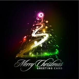 christmas card template sparkling lights decor motion design