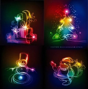 christmas backgrounds colorful light effect handdrawn symbols sketch