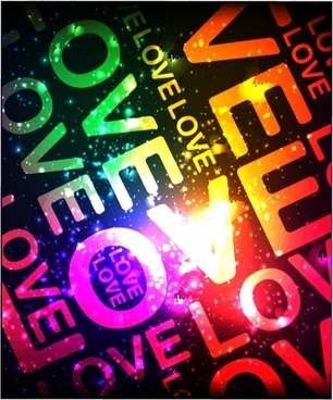 love background sparkling colorful light effect texts decor