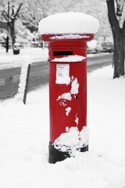 british post box in winter