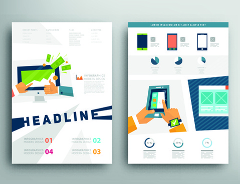 brochure and flyer two cover design vector