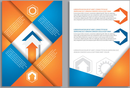 brochure background with colored geometric and arrow design