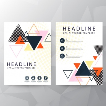brochure cover template colorful triangles decor
