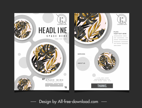 brochure cover template elegant leaves circles decor