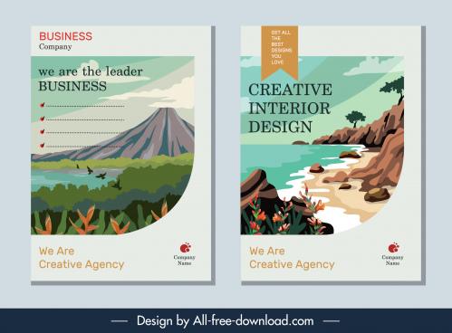 brochure cover templates nature scene decor classic design