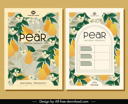 brochure cover templates pear flowers decor elegant classic