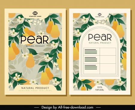 brochure cover templates pear flowers decor elegant classic