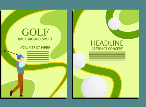 brochure design golfer ball green curves decor