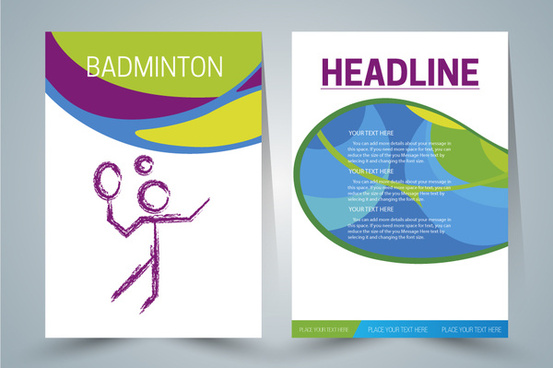 brochure design with badminton player illustration