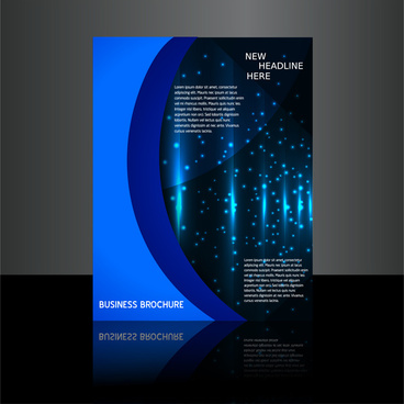 brochure design with bright stars on dark background