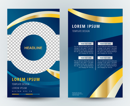 brochure design with checkered blue and curves
