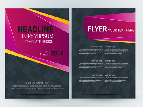 brochure design with dark vignette and pink style