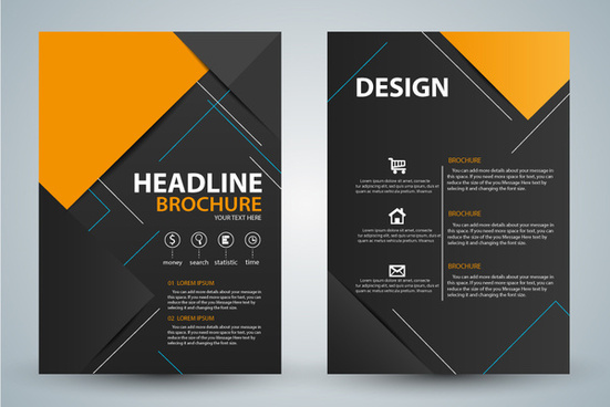 brochure design with modern black background