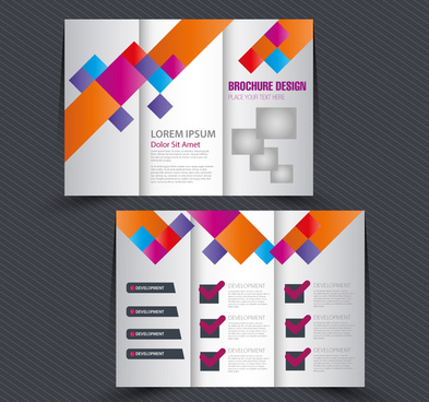 brochure design with trifold colorful template illustration
