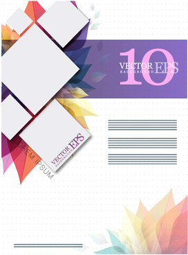 brochure design with vignette leaves and squares illustration