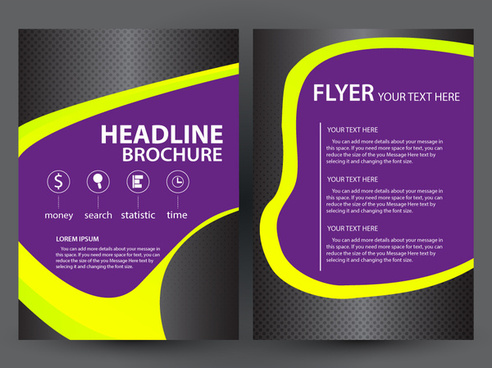 brochure flyer design with dark violet background