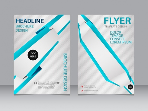 brochure flyer template 3d modern design blue lines