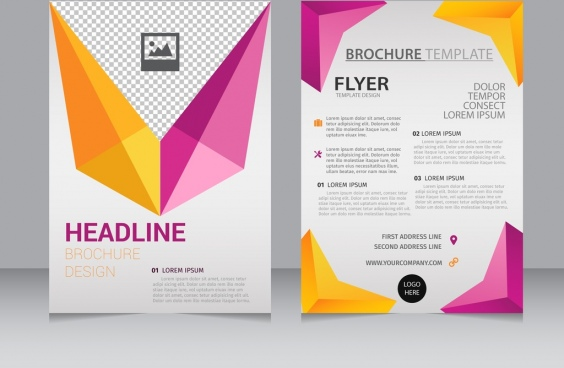 brochure flyer template colorful 3d geometry decoration