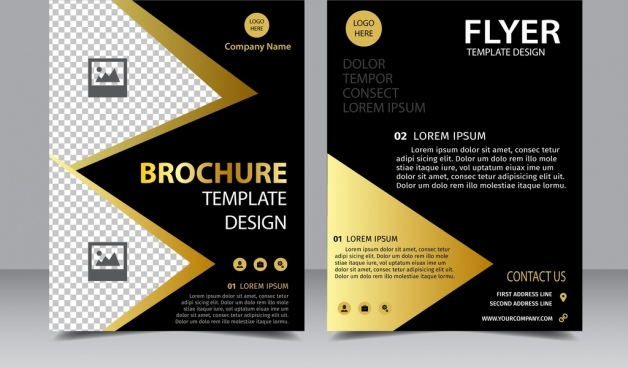 brochure flyer template golden dark decoration contrast style