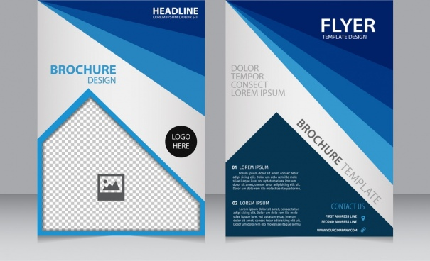 brochure flyer template modern blue curves checkered decoration
