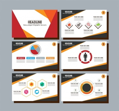 brochure presentation design with colorful infographic styles