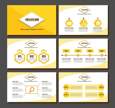 brochure presentation design with yellow infographic illustration