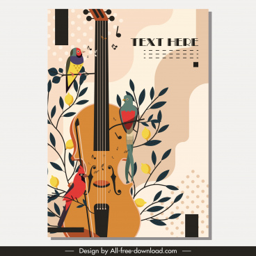brochure template birds flora guitars icons retro design