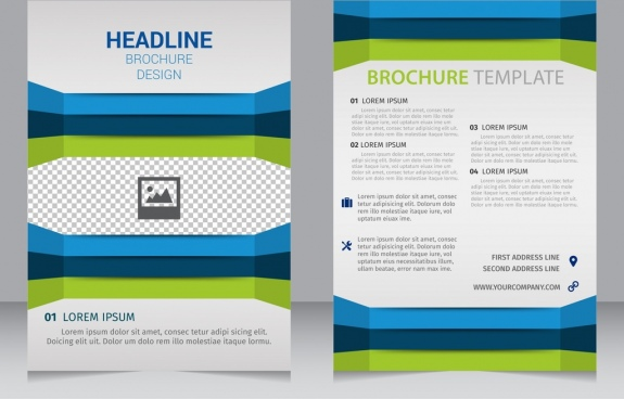 brochure template blue green edges 3d decoration