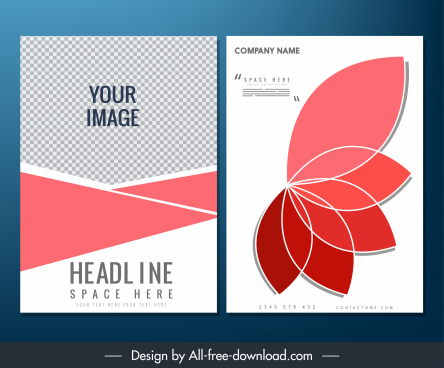 brochure template checkered geometric petal icon decor