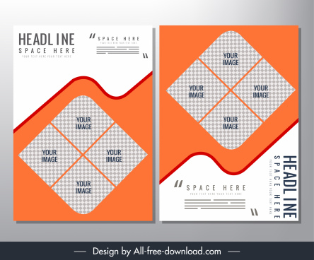 brochure template checkered squares deformed curves decor