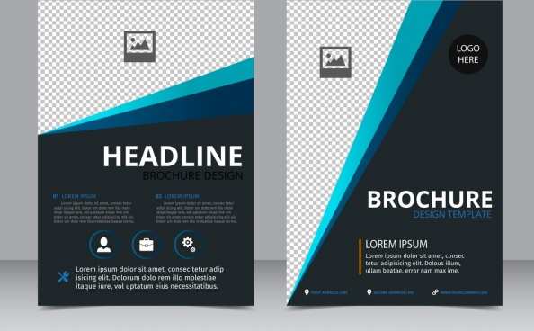 brochure template dark blue decoration checkered pattern